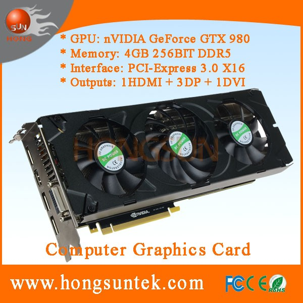OEM NVIDIA GeForce GTX 980 4GB GDDR5 DVI/HDMII/3DisplayPort PCI-Express Graphics Video Card