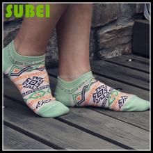 South Korea geometry prints summer cotton low cut out boat socks,women thin cotton colored funky ankle socks