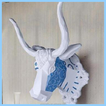 Resin Bull/OX Head Wall Mount Ornament Mantel Staging Home Decor BLUE and WHITE