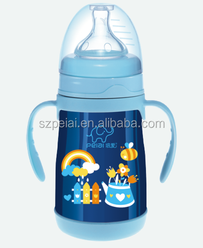 Stainless steel vacuum baby feeding bottle