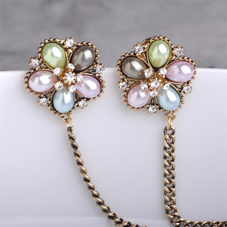 Wholesale Special Design Rhinestone Broches Colorful Pearl Shirt Clip  U003cstrongu003eHijabu003c/strong