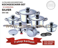 hot sell 16pcs stainless steel capsule bottom 7 steps cookware set