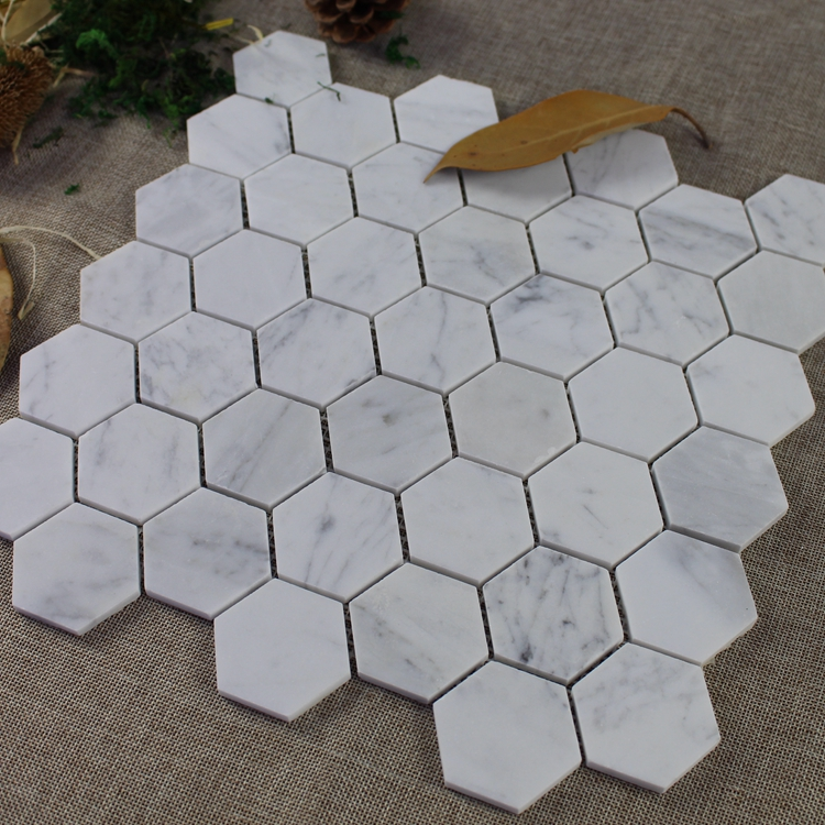Decorstone24 50mm Carrara White Marble Hexagonal Mosaic Tile For Wall and Floor