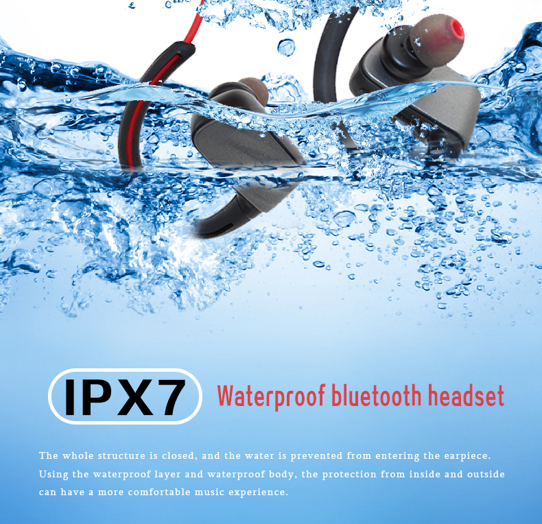 2018 New Best Quality ipx7 Waterproof Sport Bluetooth stereo headset Wireless