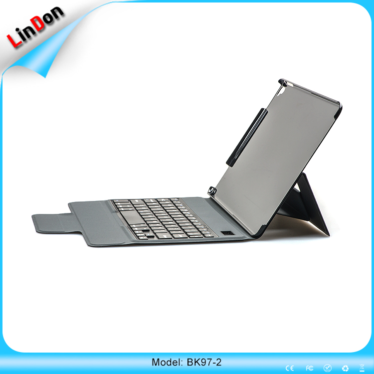 "Promotional Wireless ABS Bluetooth Keyboard + PU Leather Cover Protective Smart Case For new iPad Pro 9.7""Case"