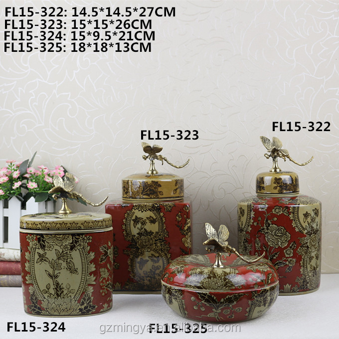 China qing dynasty style home garden decoration restaurant table red color wedding favour traditional ceramic jar