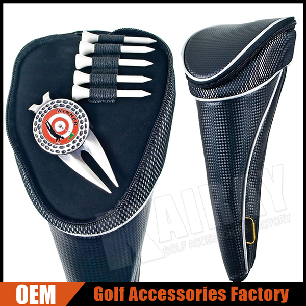 Custom Driver Golf Head Covers With Unique Top Pocket & Tee/Magnetic maker Holder