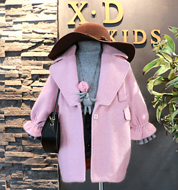 Wholesale Winter Girl clothing Stock Lantern Sleeve Loose Long Coat