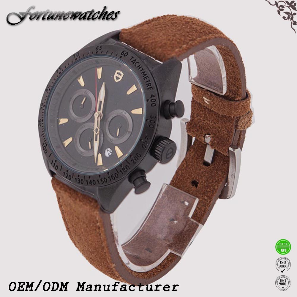 Online shopping real leather Full Calendar men fashion business stainless steel watch sport watch
