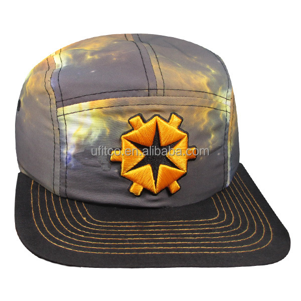 stylish sublimated crown and 3D embroidery 5 panel camp cap