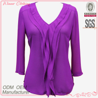 Top fashion front ruffles blouse v neck designs with 3 / 4 sleeve