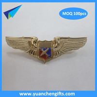 High quality gold plated brass pilot wing badge
