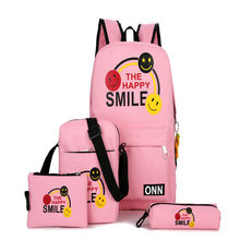 China suppliers new design latest fashion cartoon 4pcs canvas backpack school bags set