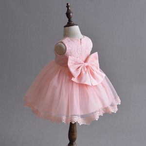 Hot Sale baby girl wedding lace dress princess dress Birthday Party Costume baptism dresses