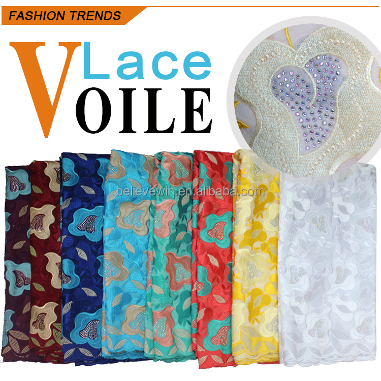 new fashion style african swiss voile lace in switzerland with stones