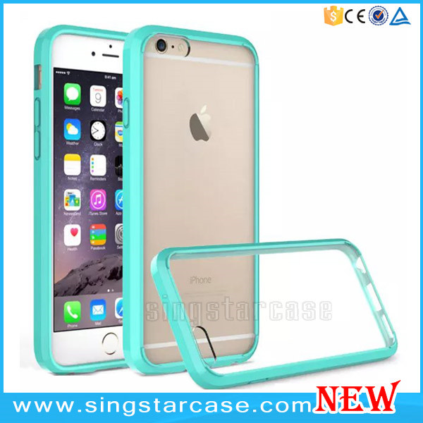 Wholesale Frosted TPU bumper + PC Hard Back Clear Transparent Phone Case For iPhone 6/6s