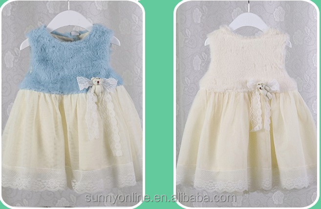 Winter Kids Princess Dress Pure Color Dress Baby Girls Cotton Cony Hair Jumper With Bear Bottons Dress Sweet Outfit Q0477