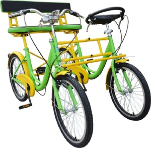 High quality steel frame side by side tandem two seats quadricycle people travel city bike bicycle