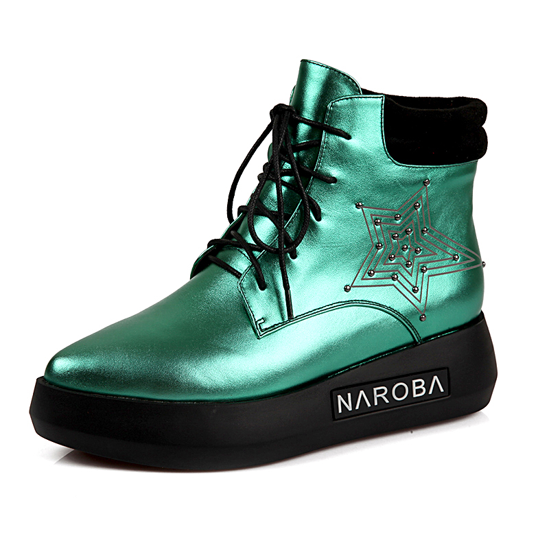 Fashion High End Black Green Colors Women Shinny Sexy Leather Boots for ladies