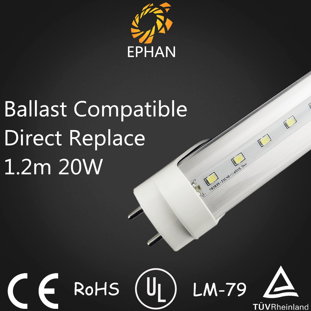 Ephan ballast compatible replace fluorescent plug and play 4ft led tube