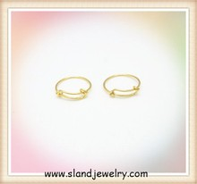 Low MOQ 100 pcs wholesale shinny gold plated cheap expandable ring (SER-1010)