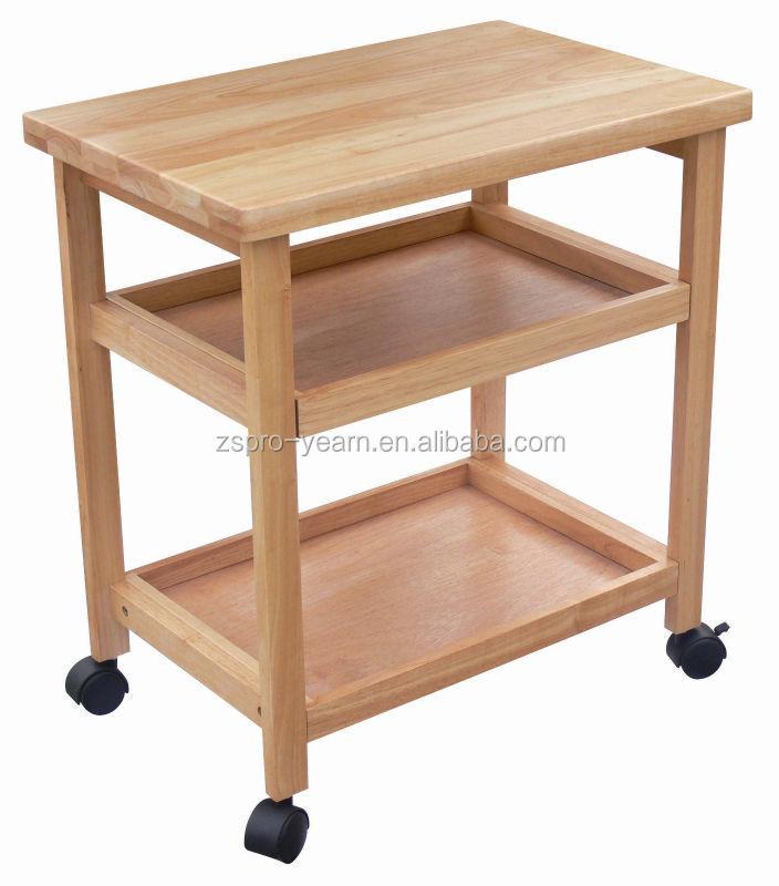 Modern Design Wooden Kitchen Trolley With 3 Tiers And Caster Wheels Buy Wooden Kitchen Trolley