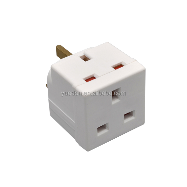 2gang uk to uk ac travel adapter convertor plug and socket 13A 250VAC