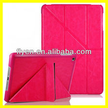 Deluxe Untra Slim Folding Case Cover for iPad mini Smart folded PU Leather Cases Covers for Apple iPad mini w Y Stand Hot Pink