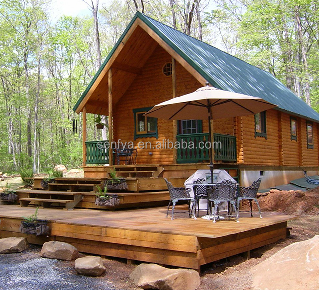 Professional timber frame housing factory cheap small prefab log home