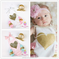 2016 Fashion baby products with headband , white baby onesie, romper ,in stock !