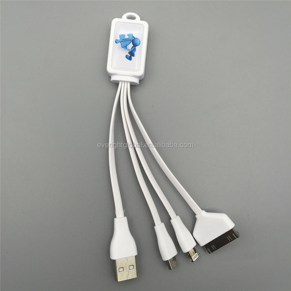 F223 Promotional custom logo Multi Charging USB Cable with Rectangle Top