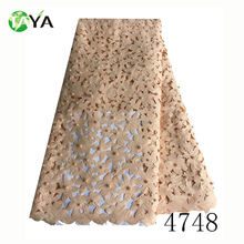 2017 High quality peach new york wholesale laser cut beaded lace fabric