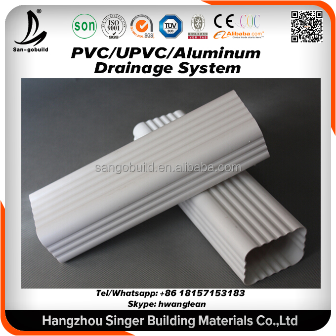 Thailand Selling Hot Africa UV resistant durable color plastic pvc rain gutters square downspout and downpipe plastic roof drain