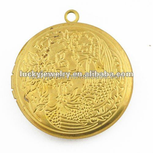 24k 18k 16k Gold Photo Lockets Designs Floating Charms Lockets 32mm Wholesale