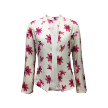 New Collection 100% Polyester Women Casual Long Sleeve Flower Print Buttonless Off White Color Jacket