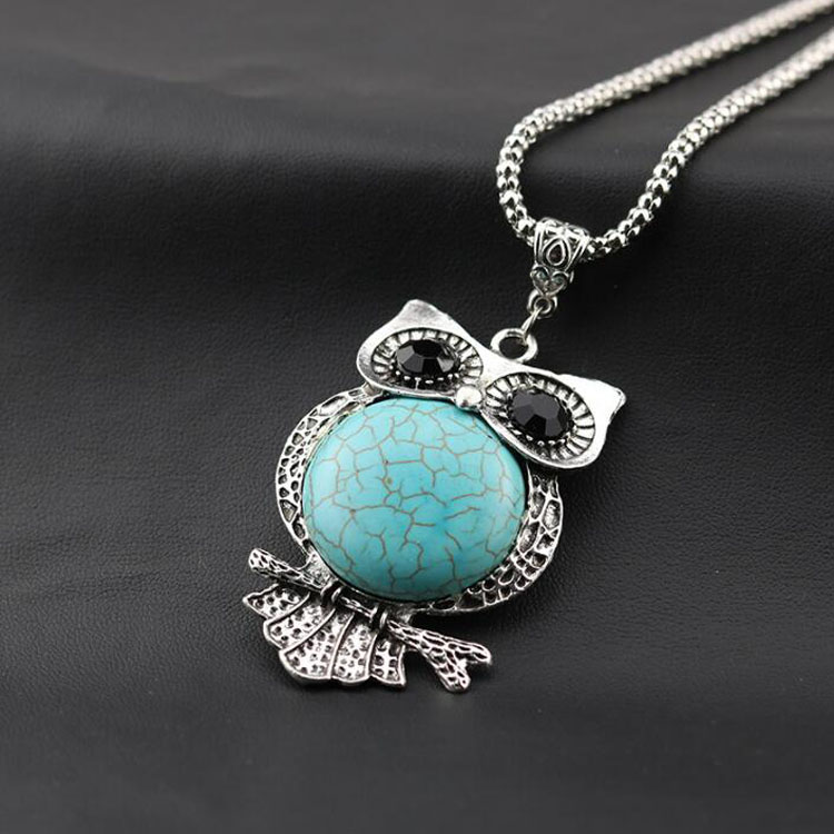 Vintage Style Blue Turquoise Stone Owl Pendant Necklace Fashion Long Sweater Chain Necklace