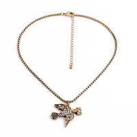 Fashion Vintage Gold Plated Necklace Carrier Pigeon Rhinestone Pendant Necklace
