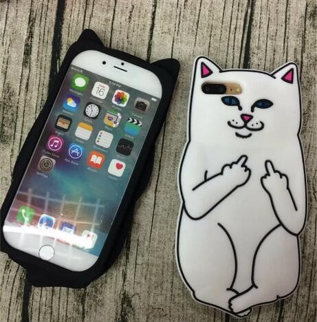 Middle Finger Cat design case cover for iPhone 7, 3D cat silicone cover for iPhone 7 Plus