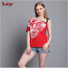 2017 Newest Summer Women Cotton T Shirts Skew Collar Butterfly Print Ladies Tees Tops