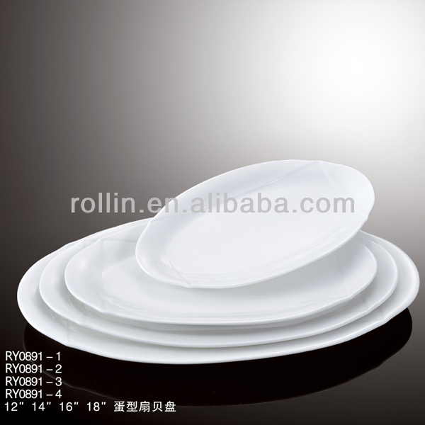 Wholesale popular design egg shape rollin brand ceramic white porcelain oval plate