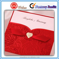 Red lace wrapped wedding invitations wedding cards with ribbon