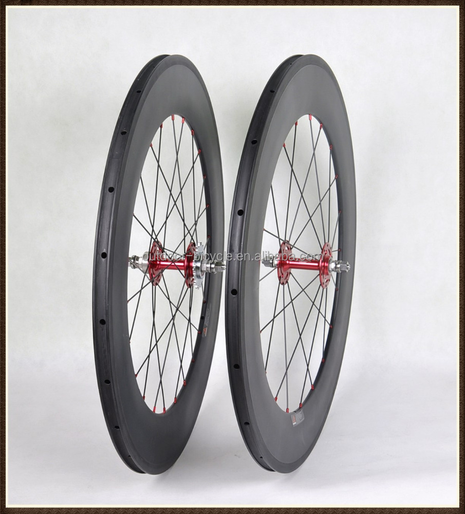 700C full carbon track bicycle wheels 3k matt carbon 88mm fixed gear clincher track wheels 21mm wide red hubs hot selling