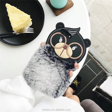 Warm fur plush 3D glasses bear phone case for iphone 7 8 7plus luxury rabbit hair siicon case for iphone 6 6s 6plus 7plus