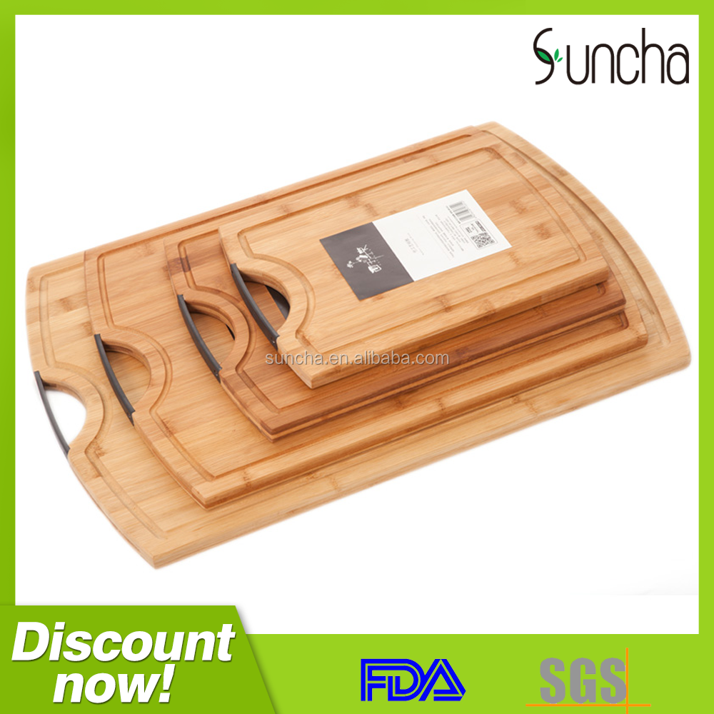 2017 Hot kitchen bamboo cutting board with handle and chopping board set