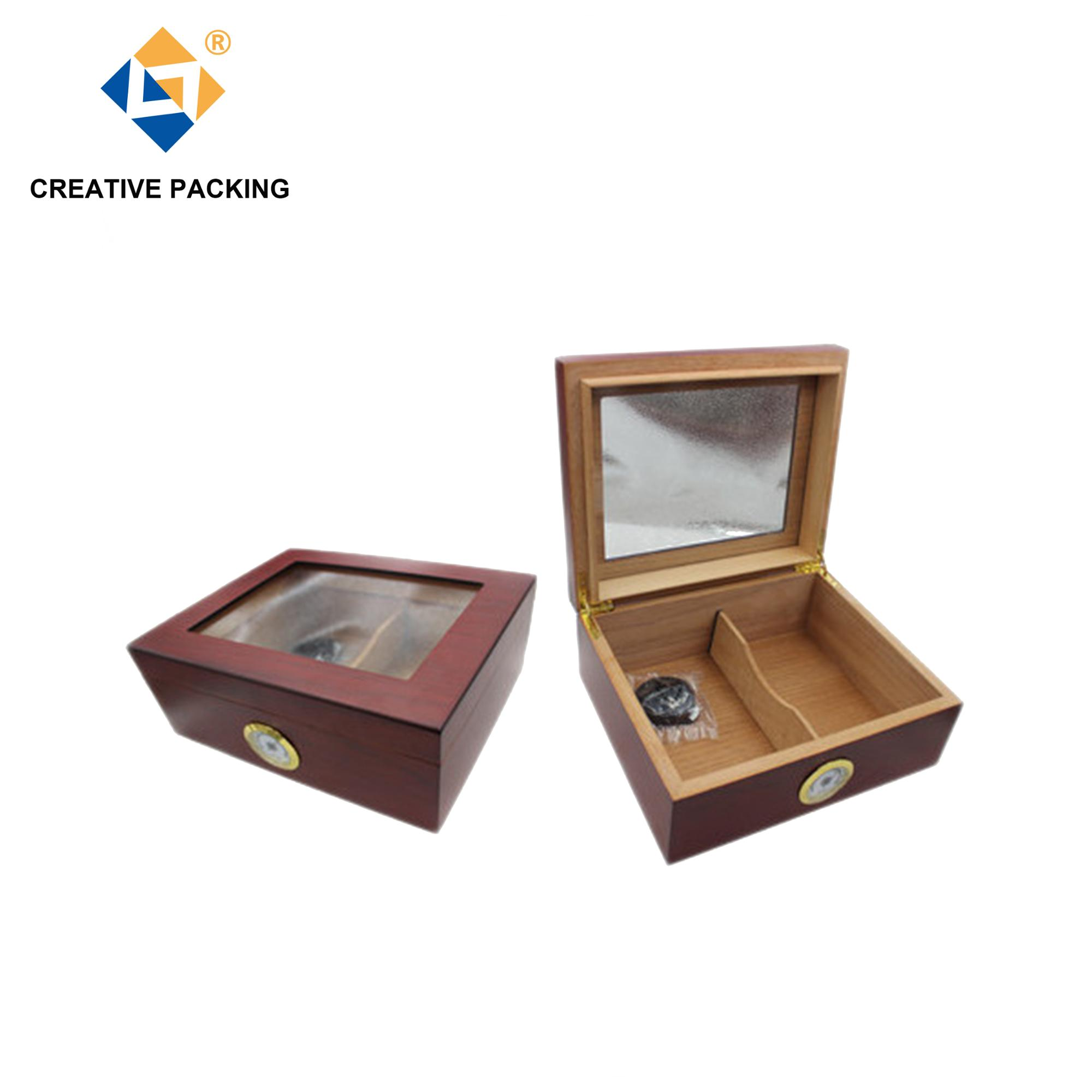 Wholesale Clear Window Cherry Wood Lined Cabinet Cigar Humidor