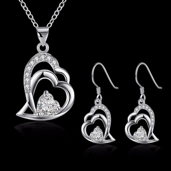 Sparkling Crystal Silver Plated Jewelry Heart Shaped Pendant Necklace And Earring Sets