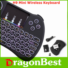 Most popular H9 Mini Keyboard with Touchpad colorful backlit remote keyboard for home use 2.4G Wireless remote
