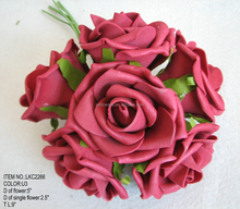 Hot Sale plum dark red colored artificial flowers For Wedding Decoration