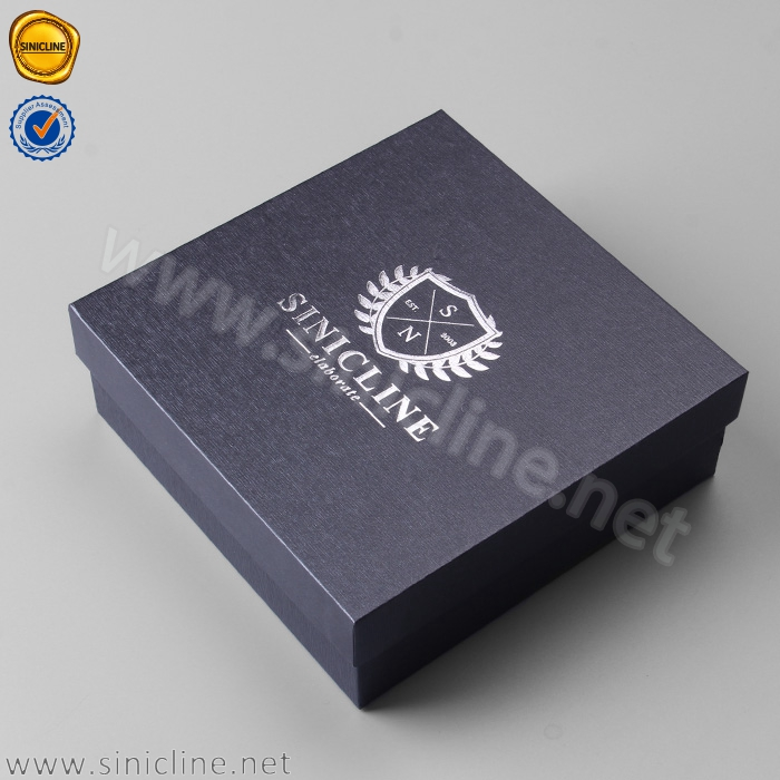 Sinicline black cardboard silver foil gift packaging lid and base box