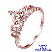 Hot selling Fashion gold crown woman royal crown ring